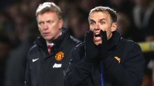 Manchester United boss David Moyes and coach Phil Neville