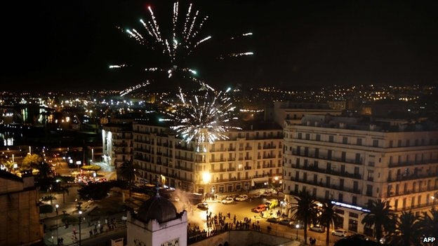 Fireworks explode in the sky as supporters of Abdelaziz Bouteflika celebrate in Algiers on 17 April 2014