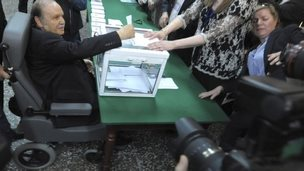 President Abdelaziz Bouteflika voting - Thursday 17 April 2014