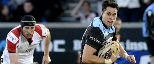 Sean Maitland scores a try for Glasgow Warriors against Ulster