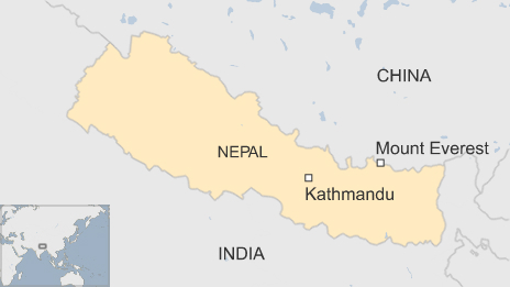 Map of Nepal showing Mount Everest
