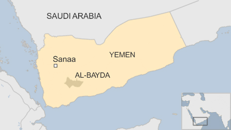 Map of Yemen showing the al-Bayda province