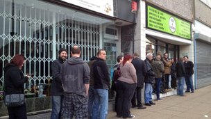 Queues outside Vinyl and Vintage in Wolverhampton
