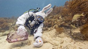 Scuba-diving Easter bunny