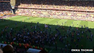 Pitch invasion at Wolves v Rotherham 2014