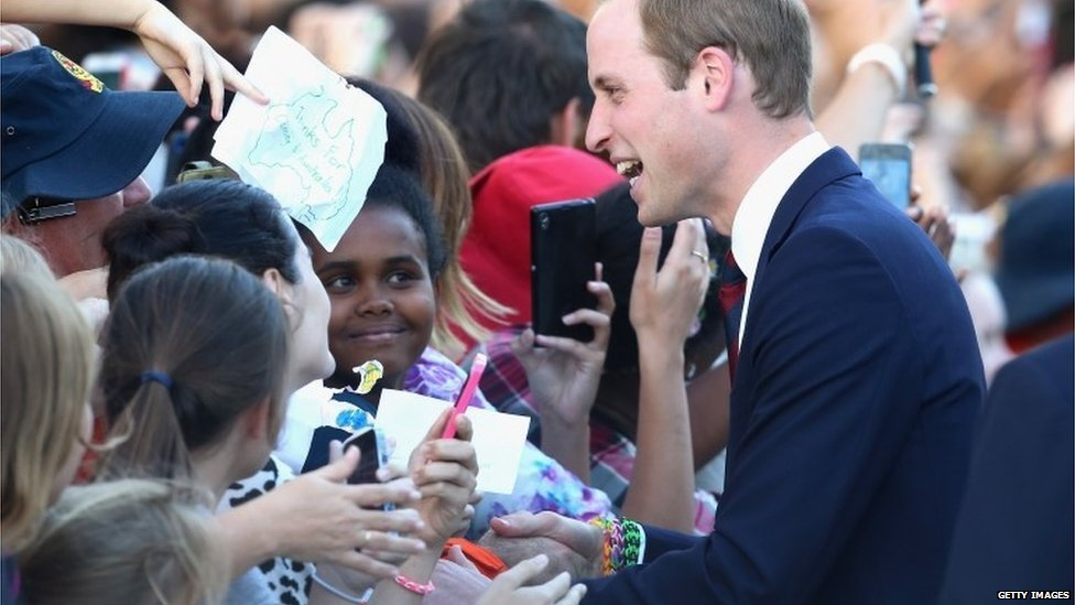 The Duke of Cambridge meeting fans in Brisbane on 19 April