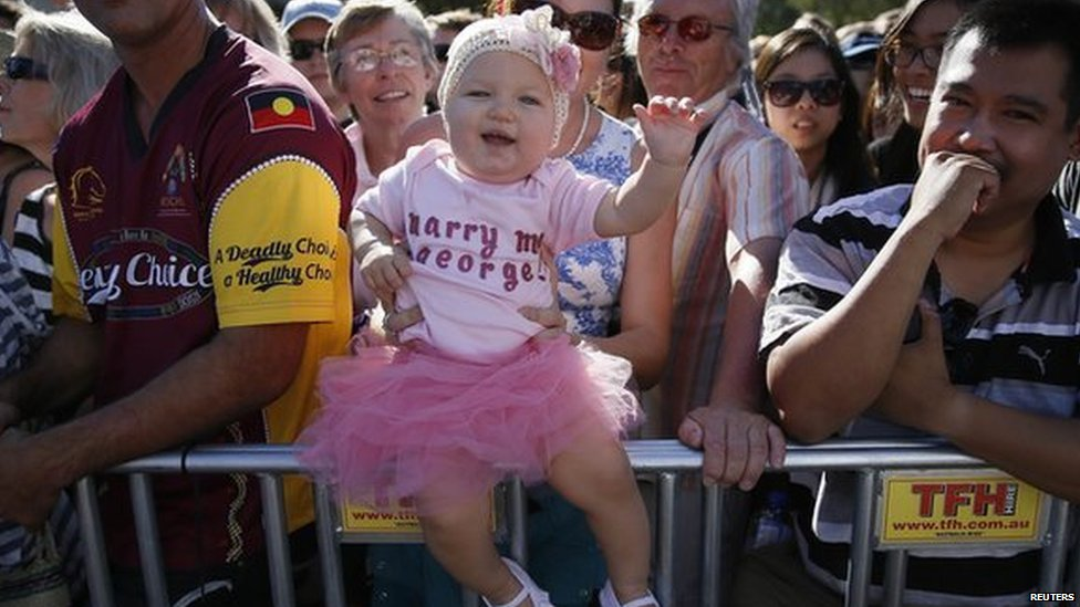 Ten-month-old Grace Farrelly waits to see the Duke and Duchess of Cambridge in Brisbane on 19 April
