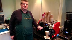 Chris Holmes, from Derwent Coffee in Derby's Market Hall