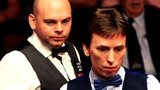 Ken Doherty and Stuart Bingham cast an eye over the table in their first round match