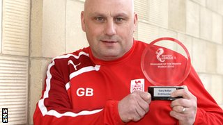 Airdrieonians manager Gary Bollan was also named March's League One manager of the month