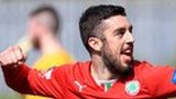 Joe Gormley celebrates after putting Cliftonville ahead against Glenavon
