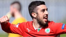 Joe Gormley celebrates after putting Cliftonville into the lead against Glenavon