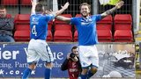 Stevie May celebrates after scoring the second