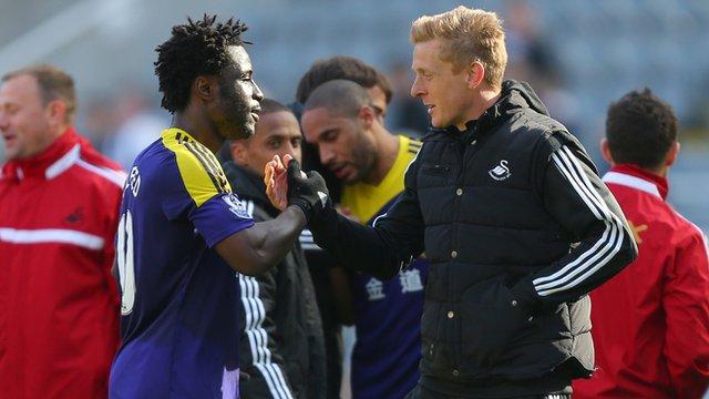 Swansea head coach Garry Monk says Wilfried Bony is 'invaluable'