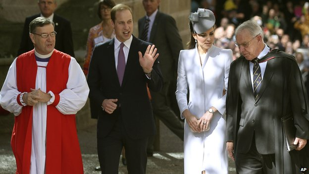 Left to right: The Most Reverend Glenn Davies, Archbishop of Sydney, the Duke of Cambridge, the Duchess of Cambridge and The Very Reverend Phillip Jensen, Dean of Sydney