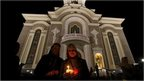Ukrainian Orthodox worshippers attend a holy liturgy during an Orthodox Easter service in Donetsk