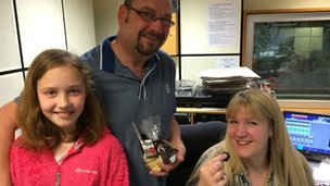 Nigel Holling and his daughter and BBC Radio Derby's Aleena Naylor