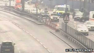 Lanes blocked near Limehouse Link Tunnel