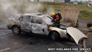 Car fire in Aldridge