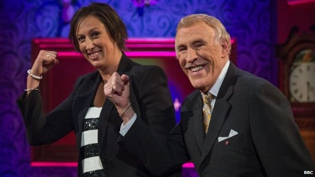 Miranda Hart and Sir Bruce Forsyth