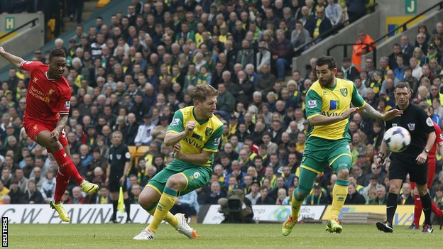 Raheem Sterling (left) scores Liverpool's opener at Norwich