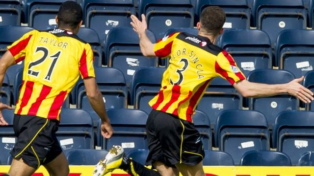 Partick Thistle players Aaron Taylor-Sinclair and Lyle Taylor celebrate