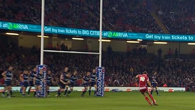 Cardiff Blues v Llanelli Scarlets: Rhys Priestland shanks kick