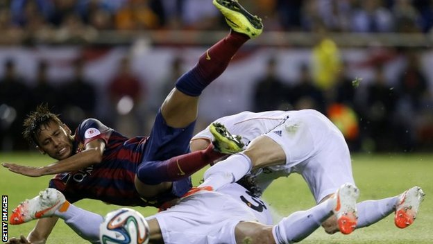 Neymar is tackled