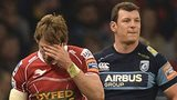 Liam Williams of the Scarlets and Cardiff Blues Robin Copeland are sent off