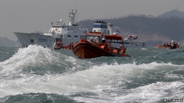 The South Korean coastguard searches for missing passengers off the coast of Jindo island, 20 April