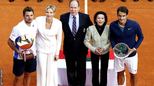 Stanislas Wawrinka, Princess Charlene of Monaco, Prince Albert II of Monaco, Elisabeth Anne De Massy and Roger Federer