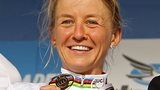 Emma Pooley with her 2010 world time trial gold medal