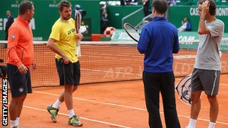 Stanislas Wawrinka and Roger Federer practised together ahead of the final