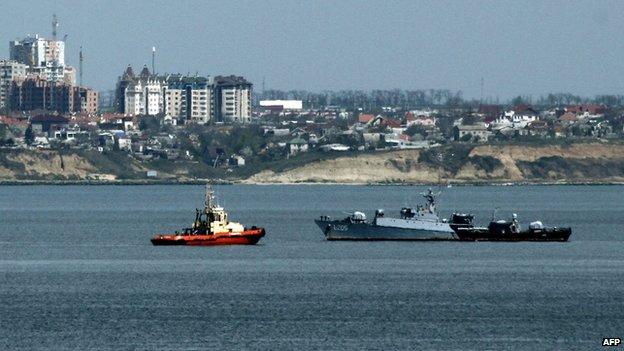 Ukrainian Navy corvette Vinnitsa enters the bay of the city of Odessa, on April 20