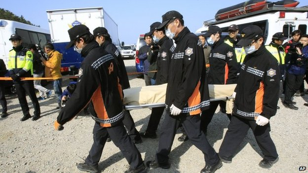 The body of a passenger aboard the Sewol ferry which sank off South Korea's coast, is carried by rescue workers upon its arrival at a port in Jindo, South Korea on 21 April 2014