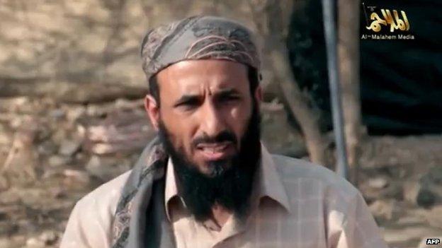 Nasser al-Wuhayshi appears in an online video published on 16 April 2014