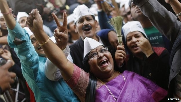 Aam Aadmi Party (AAP), or common man party, supporters