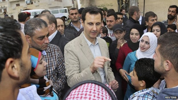 Bashar al-Assad in Maaloula (20 April 2014)