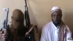 27338454A screengrab taken from a video released on You Tube in April 2012, apparently showing Boko Haram leader Abubakar Shekau (centre) sitting flanked by militants