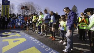 Thousands of runners are taking part in the Boston Marathon a year after two bombs exploded near the finish line.