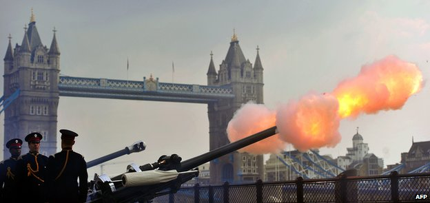 Royal salute at the Tower of London