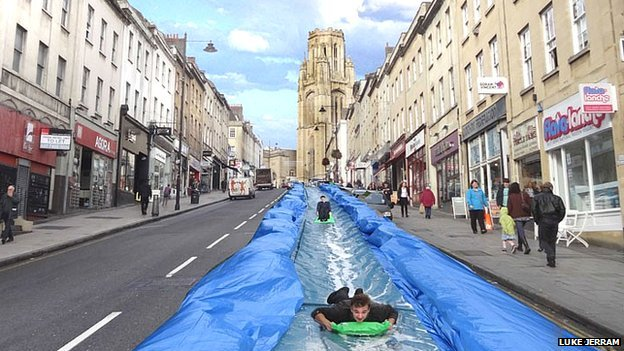 90m water slide plan for Bristol