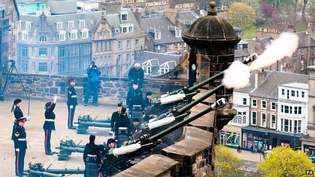 Gunners from 105th Regiment Royal Artillery fire a 21-gun salute at Edinburgh Castle