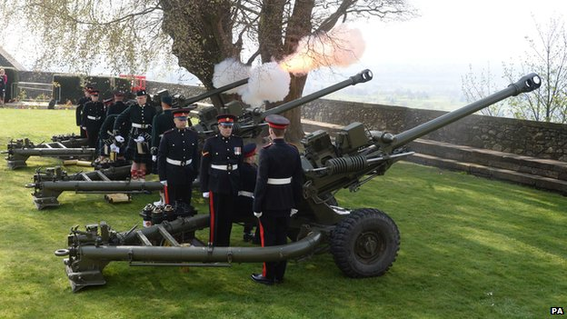 Gunners from 105th Regiment Royal Artillery fire a 21-gun salute at Stirling Castle