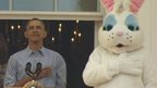 President Obama with a singer and an Easter Bunny