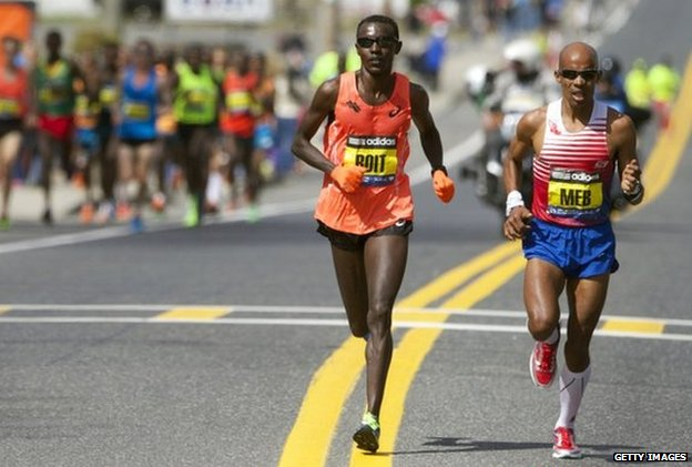 Elite runners race during the 2014 Boston Marathon on 21 April 2014