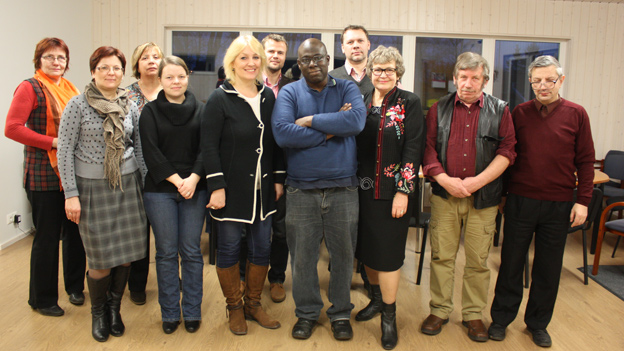 Abdul Turay with supporters