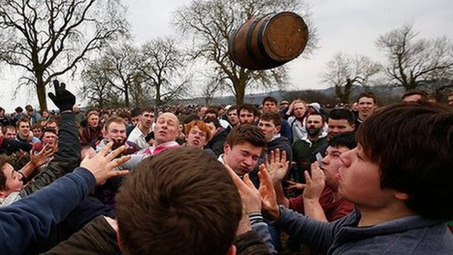 The keg used in bottle throwing
