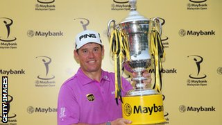 Lee Westwood with Malaysia Open trophy
