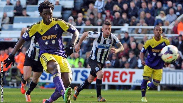 Wilfried Bony scores against Newcastle